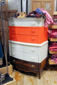 Never thought of painting a dresser multiple colors!    urban outfitters