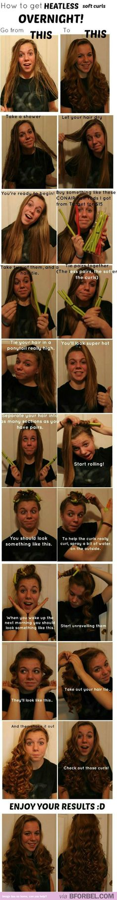 How To Get Heatless Soft Curls Overnight…Her faces crack me up!!