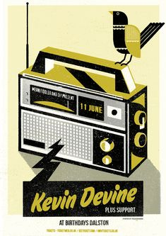 New poster by Telegramme Studio for  Kevin Devine at Birthdays in Dalston