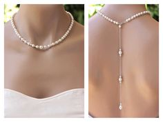 Pearl Back Drop Necklace Bridal Backdrop Pearl Necklace Bridesmaids Necklace SILVER, Gold, Rose Gold options Wedding Necklace by JamJewels1 on Etsy https://www.etsy.com/listing/250397359/pearl-back-drop-necklace-bridal-backdrop