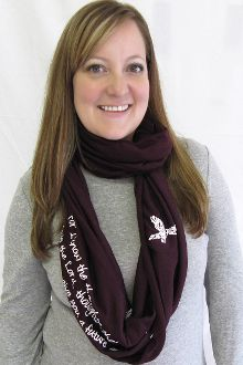 """""""Thoughts of peace and not of evil"""" #InfinityScarf now available in eggplant. #Godinspiredfashion"""