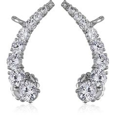 CZ by Kenneth Jay Lane Trend Round Cubic Zirconia Curved Ear Cuffs, 3... ($98) ❤ liked on Polyvore featuring jewelry, earrings, cubic zirconia earrings, cz jewellery, ear cuff jewelry, round earrings and cubic zirconia jewelry