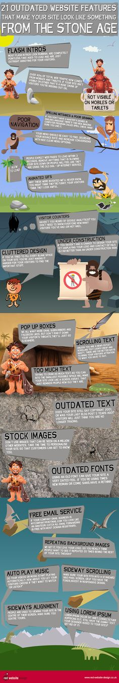 21 Outdated Website Features From The Stone Age. Some great info about how to keep your site fresh and up to date! Social Media Marketing, Digital Marketing, Inbound Marketing, Content Marketing, Online Marketing, Design Responsive, Web Creation, Web Design, Graphic Design