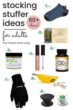 Need to fill a grown up's stocking? Creative Green Living has more than 60 ideas for stocking stuffers that are perfect for all the men and women in your life. Need ideas for your mom? check! Ideas for your dad? Check! Need stocking stuffers for your husband or wife, this guide has it all! #creativegreenchristmas #creativegreenliving #stockingstufferideas #christmasgiftideas #giftideas #giftguide