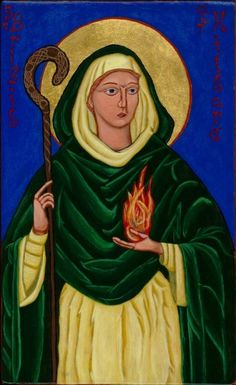 Icon of St. Brigid of Kildare. (c.451-525) One of the three patron saints of Ireland. Tradition claims that St. Brigid was born the daughter of a chieftain in Eastern Ireland. She was given the name Brigid in honor of one of the most powerful goddesses of the Celtic land.
