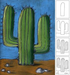 One of my favorite combos is blending chalk pastels over dried glue. I'm always on the lookout for new subject matter, so when I saw this cactus illustration, I knew it would make a great image, and allow for some simple shading practice.