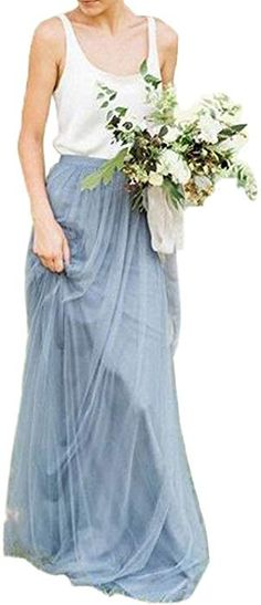 Future Girl Women's Dirty Blue Maxi Skirts High Waist Holiday Formal Skirt (Dirty Blue-S) at Amazon Women's Clothing store: