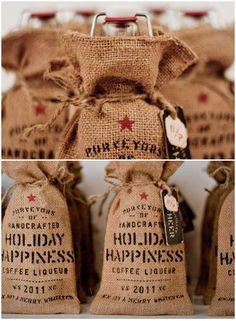 Coffee liquor packaged in burlap sack by Device Printshop Packaging.