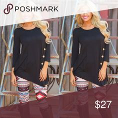 Side button top Made of cotton blend Tops Tees - Long Sleeve