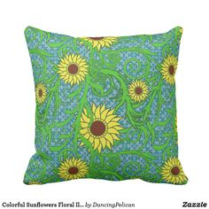 Colorful Sunflowers Floral Illustration Throw Pillow - Colorful sunflowers to brighten your day in this floral design courtesy of vecteezy.com. This high-quality vector graphic prints crisply and cleanly for a beautiful throw pillow no matter what size you need. Sold at DancingPelican on Zazzle.