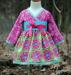Girls Kimono Dress with Obi - Pink Kimono - Long sleeve or short sleeve. $50.00, via Etsy.
