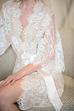 Image of Swan Queen lace and silk bridal robe kimono - Style 104 nude