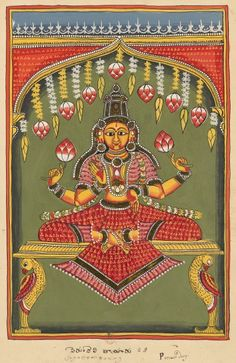 "Lakshmi from the aspect of Perundevitayaru (local form to Kanchipuram). ""Indian Deities,"" two albums 195 illustrations. Southern Andhra Pradesh (north of Madras), bordering Karnataka, around 1720-1730"