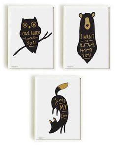 A4 Set of 3 Woodland Creature Prints