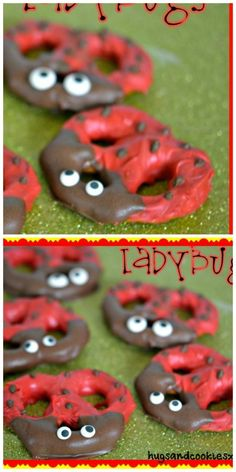 WHEN I SAW THESE, I COULDN'T RESIST WHIPPING THEM UP! YOU JUST NEED CHOCOLATE AND RED MELTING DISKS, PRETZELS AND CANDY EYES. EYES AND DISKS…
