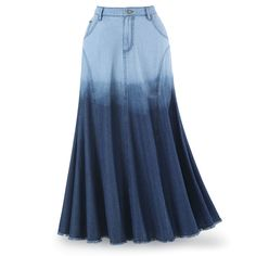 Ombré Blue-Denim Skirt - Women's Clothing & Symbolic Jewelry – Sexy, Fantasy, Romantic Fashions