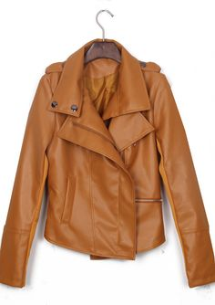 Light Brown Long Sleeve Zipper PU Leather Coat