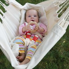 This beautiful hammock and stand set allows baby to be independent from you, yet still nearby. The hammock can be adjusted to both an opened and a closed position, and the gentle rocking is perfect for either an active or a restful moment. Because it includes a five point harness, you will know he is safe.