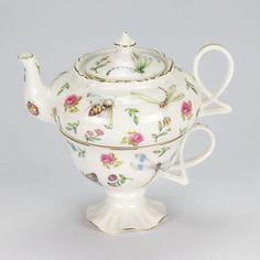 Vintage style Tea for one set Teapot cup garden rose ladybug porcelain Shabby