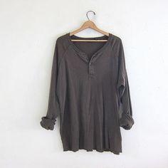 vintage army green long sleeve long underwear henley top. grunge look shirt / oversized men's size L