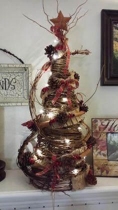 "Rustic Primitive Mini Grapevine Christmas Tree, Pine Cone Garland Tree, LIGHTED Grapevine Christmas Tree 24"""