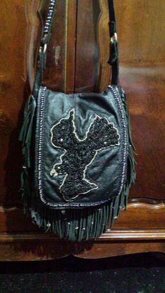 crow beaded charm bag