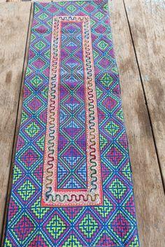 Vintage Hmong fabric Handmade Fabrics, handmade tapestry textiles, hill tribal fabric on Etsy, $12.99