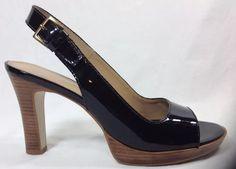 Franco Sarto Shoes 8 Womens Black Liquid Platform Heels Open Toe Vintage #FrancoSarto #PlatformsWedges