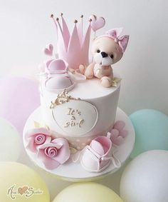 Cute Birthday Cakes, Beautiful Birthday Cakes, Baby Girl Birthday, Beautiful Cakes, Cute Cakes, Pretty Cakes, Fondant Cakes, Cupcake Cakes, Cupcakes Decorados