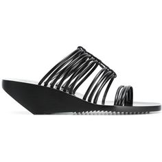 Rick Owens Mignon Adler Sandals (47,870 INR) ❤ liked on Polyvore featuring shoes, sandals, real leather shoes, genuine leather shoes, leather footwear, low wedge shoes and leather shoes
