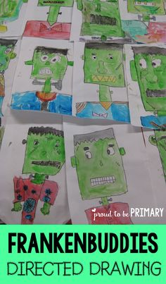 FREE directed drawing---Franken-buddies Frankenstein directed drawing for Halloween by Proud to be Primary Art Halloween, Halloween Art Projects, Halloween Drawings, Halloween Activities, Halloween Witches, Halloween Crafts For Kindergarten, Happy Halloween, Frankenstein Halloween, Frankenstein Craft