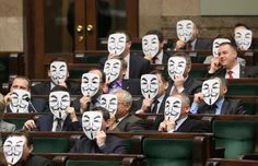 January 2012 - Poland politicians wear Anonymous Guy Fawkes mask in parliament to protest against ACTA. Masque Anonymous, Funny Photos, Best Funny Pictures, Guy Fawkes Mask, Cool Slides, Liberal Party, The Inquisition, Internet Memes, Mask Party
