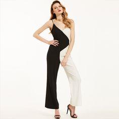 Black Trousers Straight Full Length Color Block Hollow Jumpsuit - FashionandLove.com