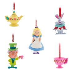 Celebrate a very merry Un-Birthday with this boxed Sketchbook Mini Ornament set inspired by Walt Disney's <i>Alice in Wonderland</i>. Five fantasy favorites are fully sculpted and highly detailed, ready to hang happily on your holiday tree. Disney Christmas Ornaments, Christmas Hanukkah, Christmas Time, Christmas Decorations, Christmas Ideas, Xmas, Disney Canvas, Disney Home Decor, Holiday Tree
