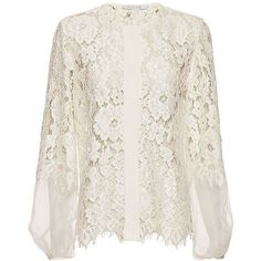 Alexis Sue Organza Lace Blouse ($349) ❤ liked on Polyvore featuring tops, blouses, bluse, lace blouse, transparent blouse, sheer blouse, long sleeve lace top and sheer long sleeve top