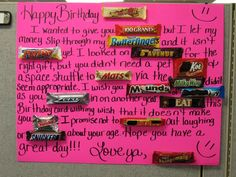 Birthday Cards With Candy Bars