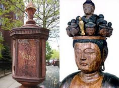 Another similarity: the boxy shape of the head. What am I talking about? Read this first and then this.  Fire box detail, Brooklyn, left. Eleven-headed Kannon detail, Tokko-san Fumon-in, Tochigi Prefecture, Japan, right. (note: this temple somehow relates to the human genome project... neat!)