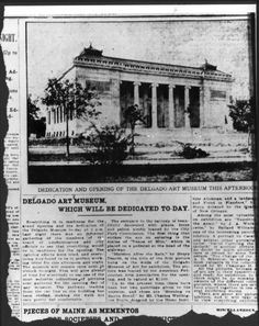 On December 11, 1911, the Isaac Delgado Museum of Art opened its doors. Issac Delgado did not attend the opening due to medical issues; he died soon after on January 4, 1912.
