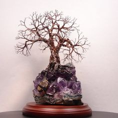Wire Tree Of Life Uruguay Black Amethyst Geode by CrowsFeathers