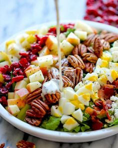 Harvest Cobb Salad Recipe - Damn Delicious - The perfect fall salad with the creamiest poppyseed salad dressing. So good, you'll want to make this all year long! Easy Salad Recipes, Easy Salads, Healthy Salads, Summer Salads, Great Recipes, Healthy Eating, Healthy Recipes, Clean Eating, Big Salads