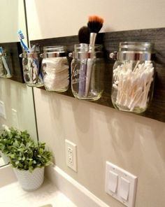Click Pic for 18 DIY Bathroom Storage Ideas - Mason Jar Organizers - Bathroom Organization Ideas Bathroom Organisation, Home Organization, Organized Bathroom, Organizing Ideas, Organized Pantry, Bathroom Space Savers, Space Saver Bedroom, Kitchen Space Savers, Pot Mason Diy