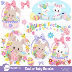 14 cliparts of bunnies, bunnies in baskets, painting eggs, baby bunnies, the cutest bunnies ever! If you are interested in FREEBIES and contests, and want know what new packs I will be posting, visit and like my Facebook page : https://www.facebook.com/ambillustration Clipart & Stamps Easter Chickees, AMB-1200: http://etsy.me/1UdbZHi Bunny Bash, AMB-370: http://etsy.me/1pqJa6c Easter Egg Heads Clipart, AMB-1168: http://etsy.me/...