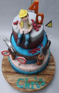 #40th Birthday Cake - #Builder Cake 30th Birthday Cakes For Men, 40th Cake, Dad Cake, 40th Birthday, Fondant, Diva Cakes, Cupcake Decorating Tips, Cupcake Cakes, Cupcakes