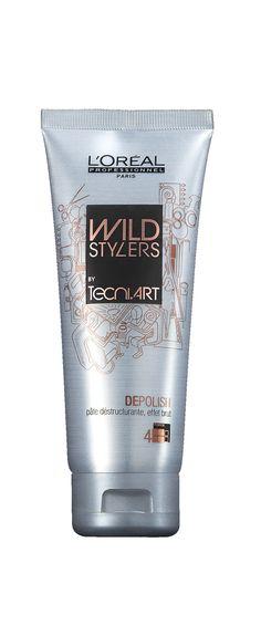 WILD STYLERS by Tecni.ART DEPOLISH Pâte déstructurante, effet brut : elle déstructure, dépolit et matifie. Repositionnable et remodelable à l'infini. Toucher naturel anti-rêche. Pour un look brut et mat qui trahira vos instincts primaires ! Astuce : Appliquez sur cheveux secs. Pour un look plus défini : appliquez plus de produit et travaillez vos cheveux mèche à mèche.