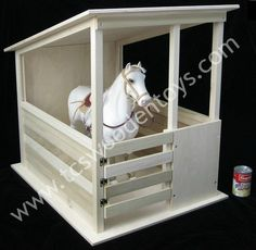 Stall width: Qty 1 - Wooden Toy Horse Stable for up to tall horses (you can even get two horses in! Gate opens and closes so horses can 'run' in and out.What a GREAT home for a pretend play animal! Toy Horse Stable, Horse Stables, Horse Barns, Barbie Furniture, Handmade Wooden, Handmade Toys, Toy Barn, Barns Sheds, Woodworking For Kids