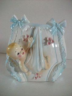 Vintage Ceramic Baby Planter.