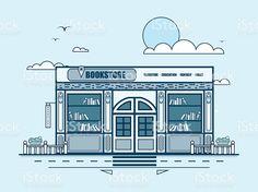 Городской улицы с книжный магазин, книжный магазин, современная архитектура В строке стиль Сток Вектор Стоковая фотография