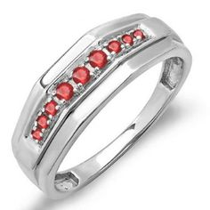 Share and get $20 off your order of $100 or more. 0.25 Carat (ctw) Sterling Silver Round Ruby Men's Wedding Anniversary Band 1/4 CT - Dazzling Rock #https://www.pinterest.com/dazzlingrock/