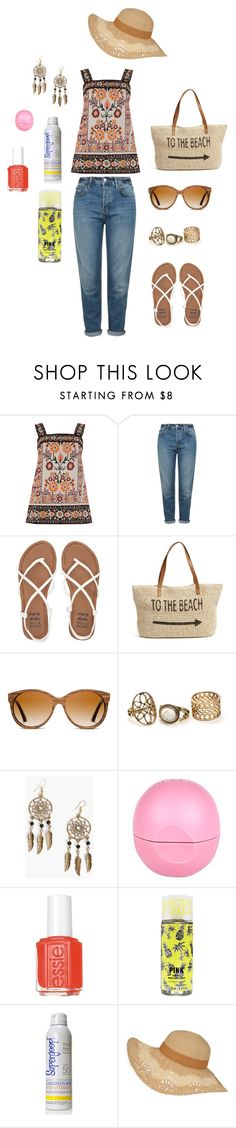 """Untitled #25"" by missmissymermaid on Polyvore featuring Warehouse, Topshop, Billabong, Straw Studios, Shwood, Boohoo, River Island, Essie and Supergoop!"