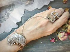 Wire wrap bracelet and ring Romantic designer Silver Statement